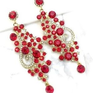Jewelry - Red Crystal Chandelier Occasion Earrings